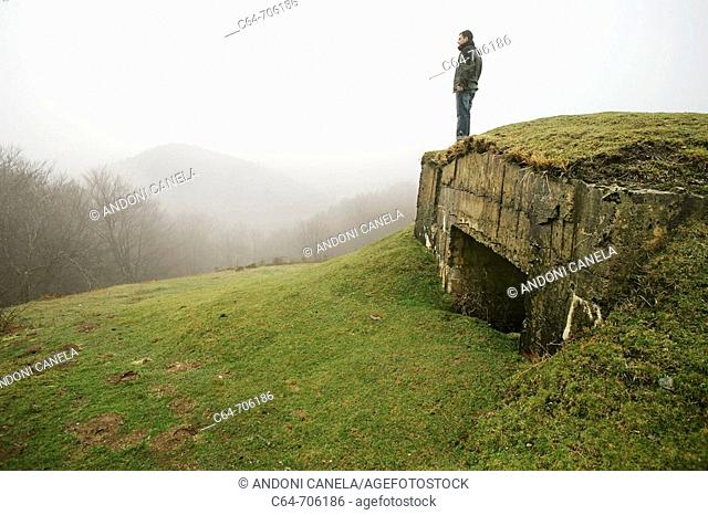 Bunkers from 'La linea P' through the Pyrenees border between Spain and France. Pyrenees mountains, Baztan, Navarra, Spain
