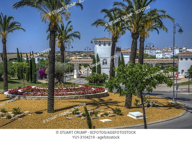 HDR image of the entrance and roundabout at Hacienda Riquelme Golf Resort in Murcia Spain