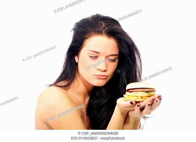 Beautiful woman with sandwich