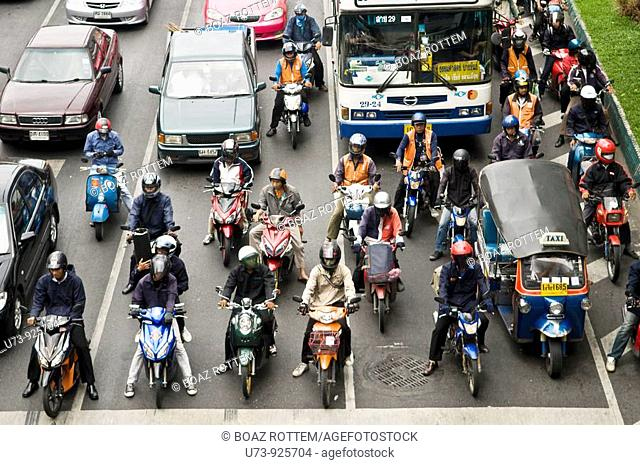 Heavy traffic on the busy streets of Bangkok, Thailand