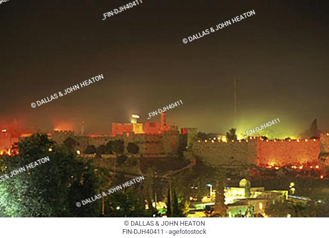 Israel, Jerusalem, Old City Wall, Fireworks