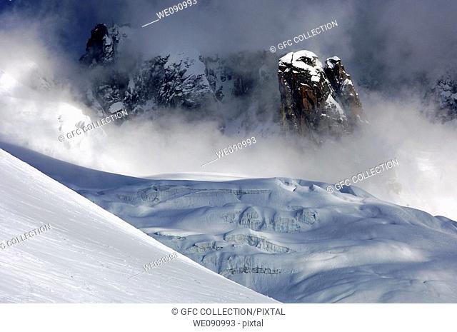 In the seracs of the Geant Glacier, Mont-Blanc massif, Chamonix, Haute-Savoie France