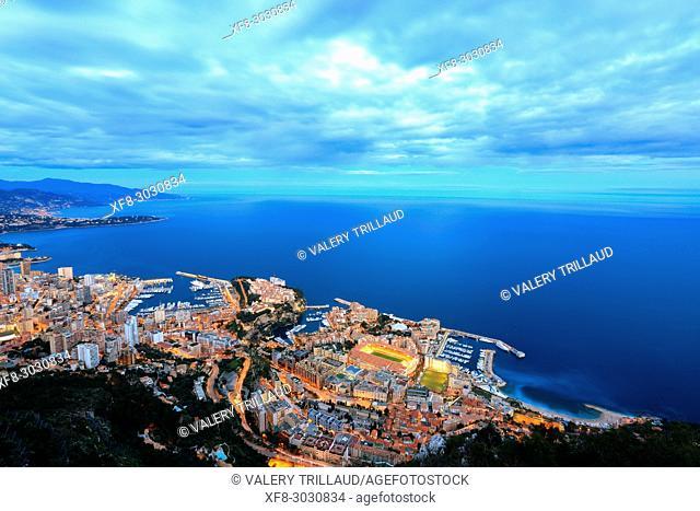 Aerial view, night, Principality of Monaco