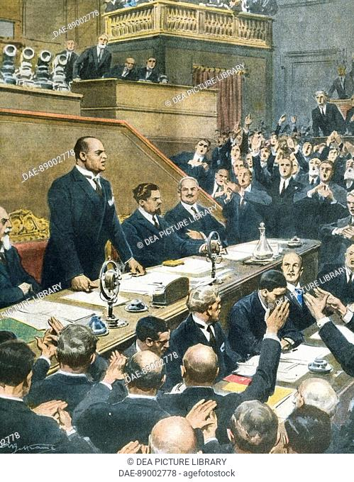 Mussolini announcing the alliance reached between the four Western powers to the Senate. Achille Beltrame (1871-1945) from La Domenica del Corriere, June 7