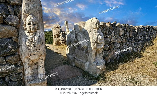 Picture & image of Hittite Sphinx sculpture of the Sphinx Gate. Hattusa (or Hattusas) late Anatolian Bronze Age capital of the Hittite Empire