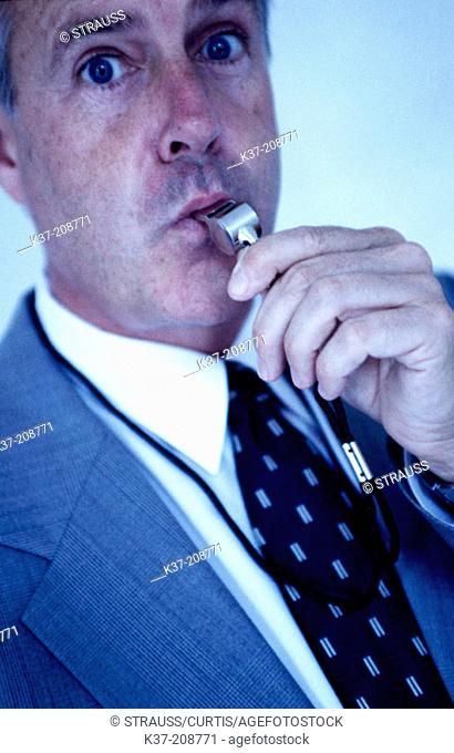 Businessman blowing the whistleon bad deals