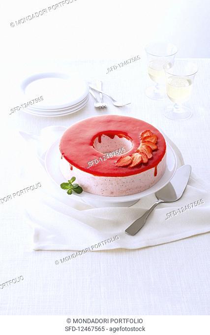 Bavarian cream with strawberry glaze