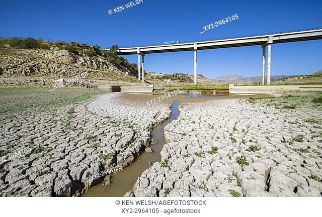near Ardales, Malaga Province, Andalusia, southern Spain. State of entrance to Guadalteba-Guadalhorce dam in October 2017 after hot summer with no rain