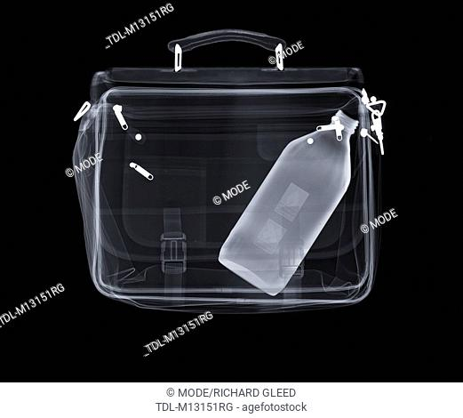 X-ray of a bag containing a bottle