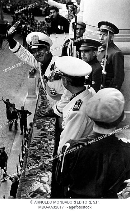 Galeazzo Ciano greeting the crowd in Barcelona. From the balcony of the palace of the Provincial Deputation the Italian Foreign Minister Galeazzo Ciano greeting...