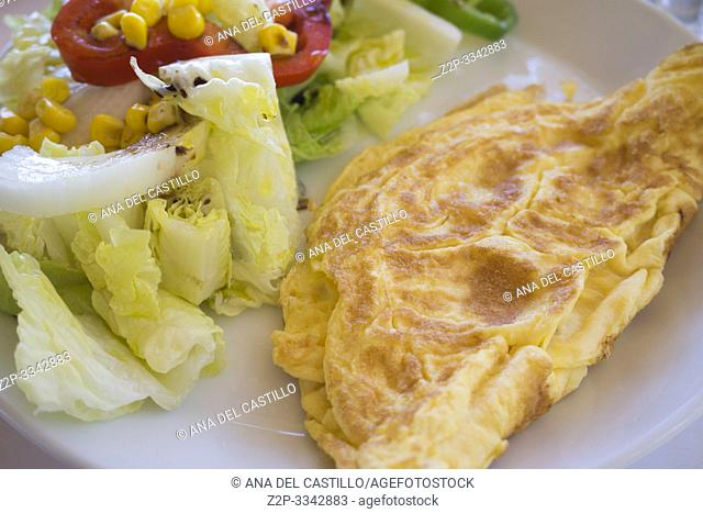 French omelette with salad Spain