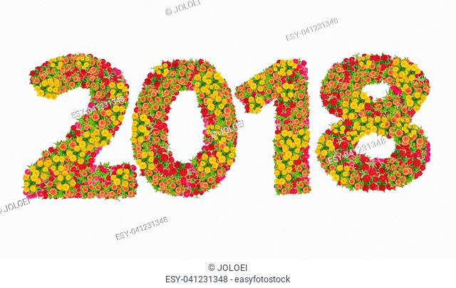 Numbers 2018 made from Zinnias flowers isolated on white background with clipping path. Happy new year concept