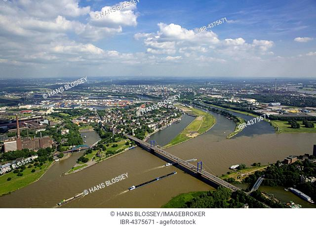 Aerial view, Cargo ships on the Rhine, brown flood mixes with the clean water of the Ruhr, Ruhr estuary, Duisburg, Ruhr district, North Rhine-Westphalia