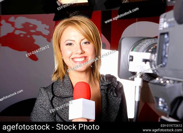 Reporter in TV studio