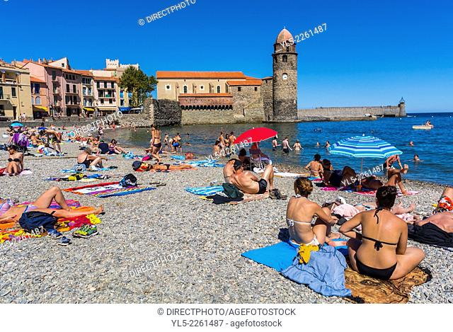 Collioure, France, Beach Scene, Tourists Relaxing on Sand, Seaside Village near Perpignan, South of France
