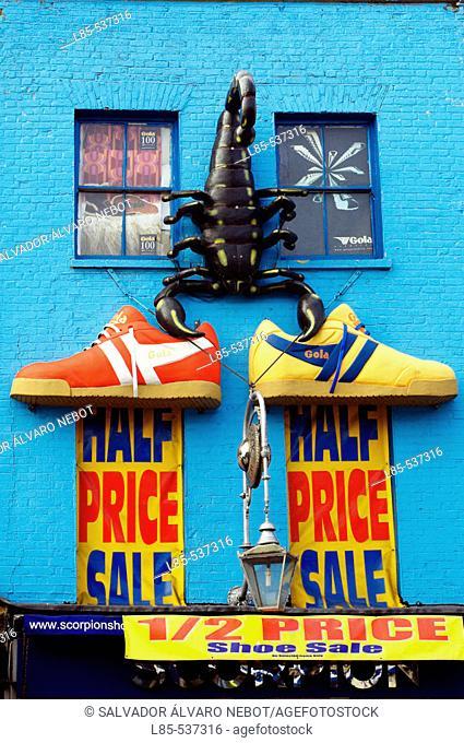 Shoe shop. Camden Town market, London, England