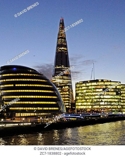 River Thames with The Shard and City Hall at night London England