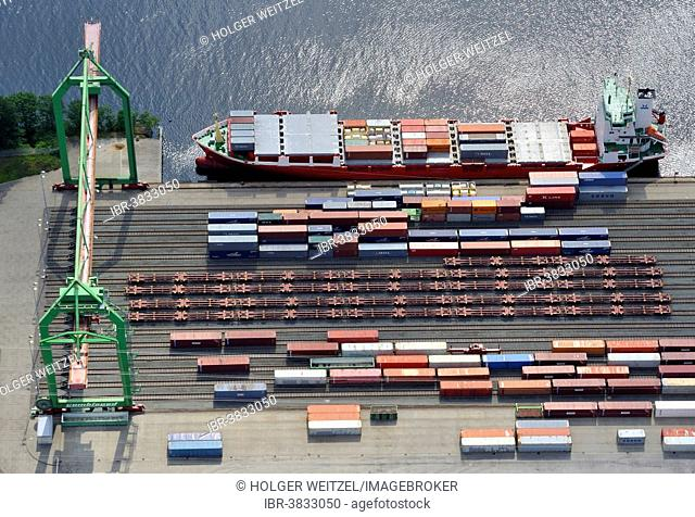Aerial view, loading containers from ship on rail, Container Terminal Lübeck, Lübeck, Schleswig-Holstein, Germany