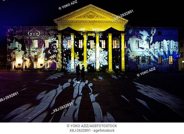 Italy, Como, Magic light festival, Christmas