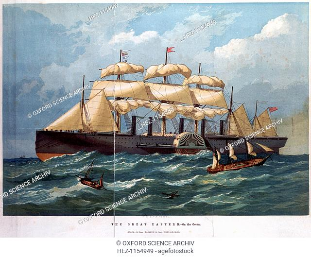 PSS 'Great Eastern on the ocean', 1858. Colour print after a painting by Edwin Weedon. This steamship, designed by Isambard Kingdom Brunel with John Scott...