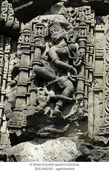 Anwa Temple- Aurangabad. Circa 12th A. D. Dancing figure on the Southern side, lower portions, above plinth