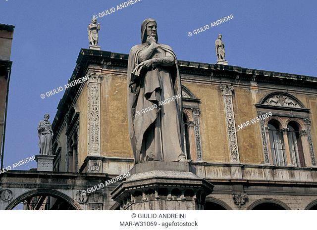 italy, veneto, verona, signori square, statue