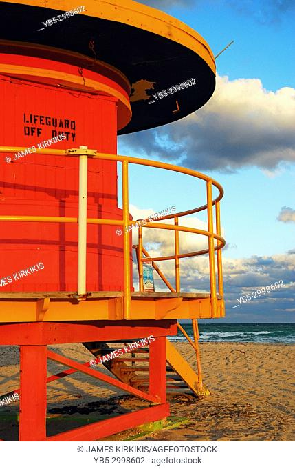 A funky lifeguard station, temporarily closed, stands along Miami Beach