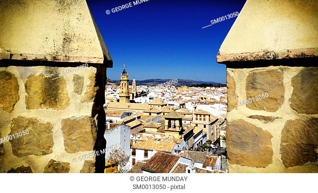 The town from Alcazaba Castle, Antequera, Malaga Province,. Andalucia, Spain