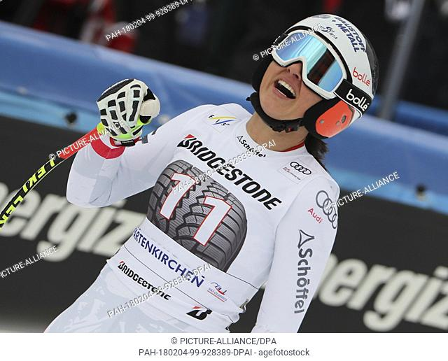 Stephanie Vernier of Austria at the finish in the women's downhill event at the Alpine Ski World Cup in Garmisch-Partenkirchen, Germany, 4 February 2018