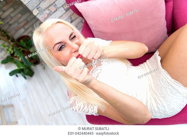 Blonde Woman In Interior