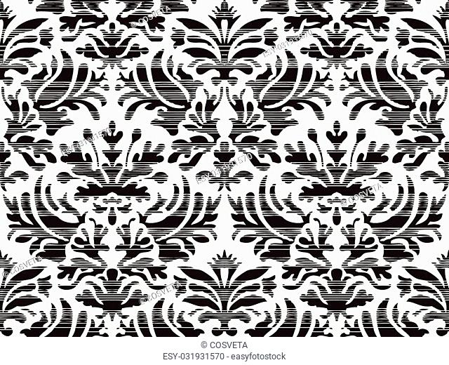 Hand drawn seamless stylized foliage striped damask background vector for invitations, greeting cards, web page, pattern fills, or textile