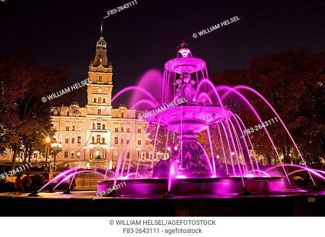 Parliament Building, Hotel du Parlement, and fountain, Quebec City, Quebec, Canada, night