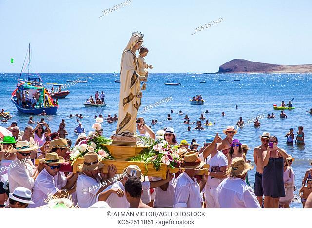 Boat pilgrimage in El Medano municipality Tenerife island . Spain