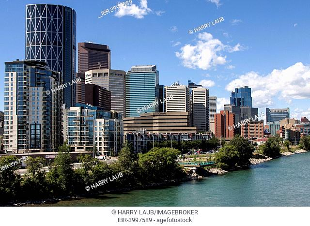 High-rise buildings, skyscrapers, skyline of downtown Calgary, Canada