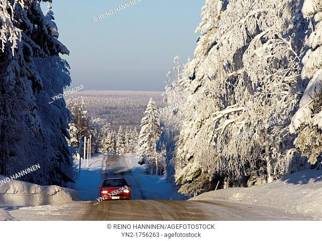 Steep hill and slippery road at countryside  Location Isomäki Vieremä Finland Scandinavia Europe EU