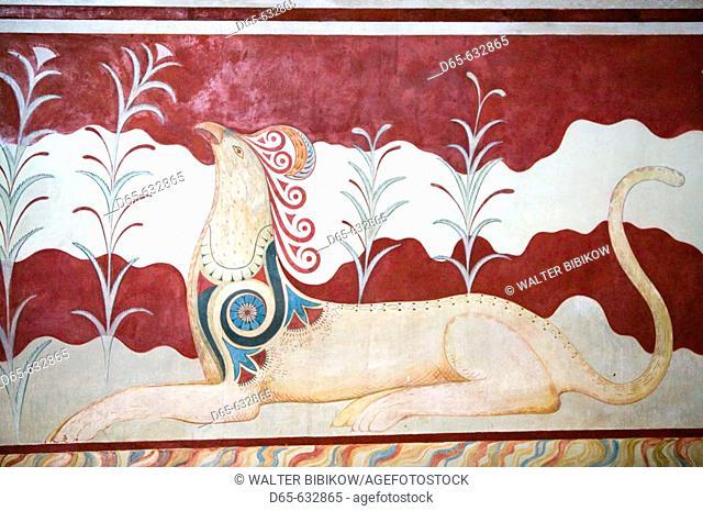 Ruins of the Capitol of Minoan Crete (c.1700BC). Sacred Griffin Fresco. Knossos. Crete, Greece