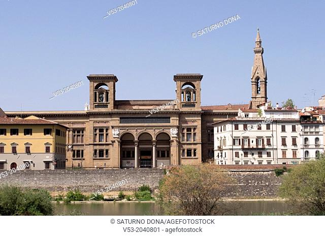 National Library, UNESCO World Heritage Site and bell tower of Santa Croce church, Florence, Tuscany, Italy