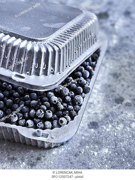 Frozen blueberries in a plastic container