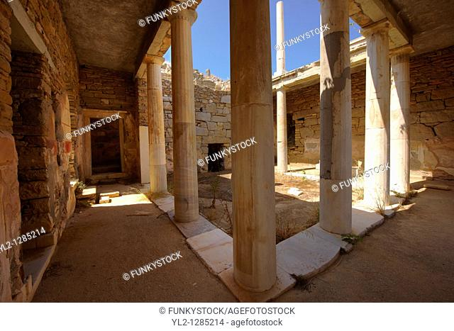 The ruins of the Greek Villa in the city of Delos, the birthplace of the twin gods Apollo and Artemis  Greek Cyclades Islands