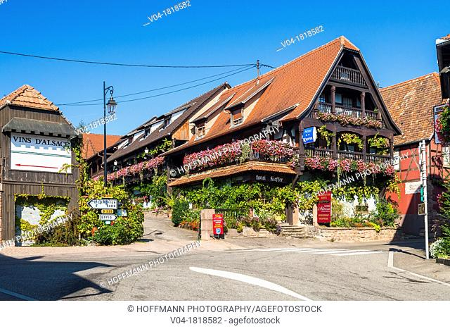Charming traditional houses in Itterswiller, Alsace, France, Europe