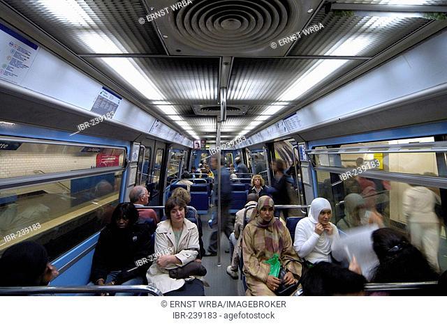Metro, in the train, Paris, Ile-de-France, France