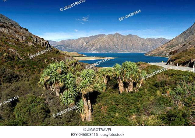 Viewpoint at a rocky ridge called The Neck stands between Lake Wanaka and Lake Hawea at their closest point on the Makarora Lake Hawea road, New Zealand