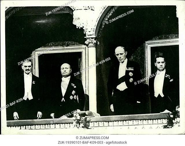 Jan. 01, 1939 - L to r Chamberlain, Mussolini, Halifax & Count Ciano, at Royal Opera House, Rome. (Credit Image: © Keystone Press Agency/Keystone USA via...