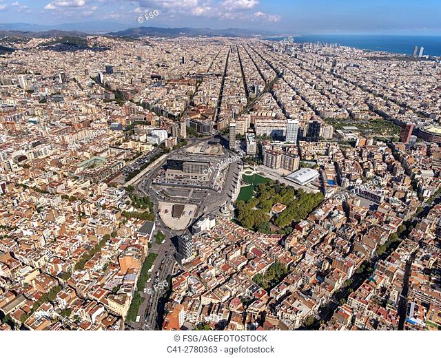 Train station of Sants and Eixample. Barcelona