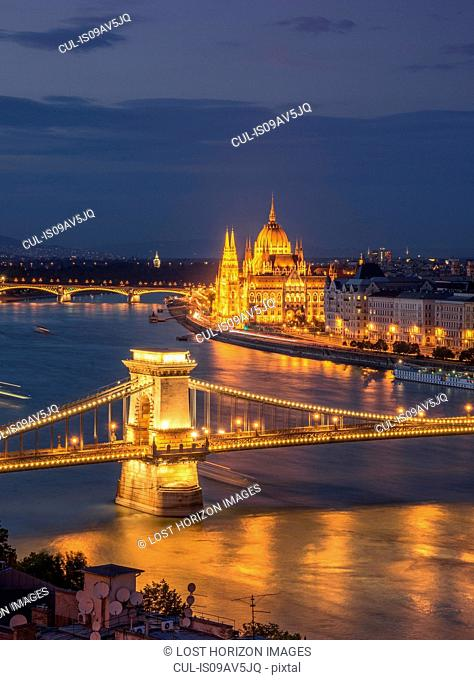 The Parliament and Chain Bridge on the Danube at night, Hungary, Budapest