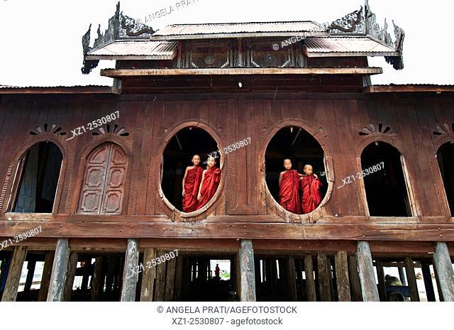 Shwe Yaunghwe Kyaung monastery, toward Inle lake, Myanmar