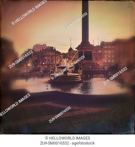 Trafalgar Square through blur, London, England, Europe