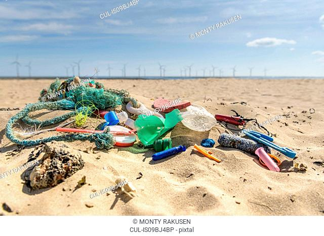 Plastic pollution collected on beach, North East England, UK