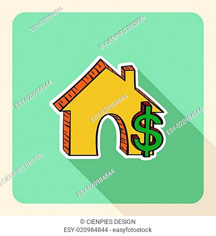 Hand drawn real estate house money symbols