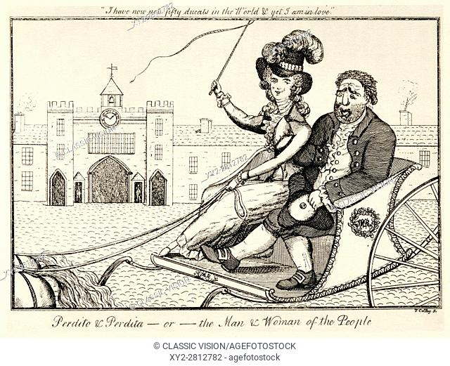 Perdito and Perdita or the Man and Woman of the People. A contemporary satirical cartoon concerning Perdito the Prince of Wales and his lover Perdita